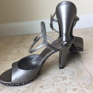 Chanel Formal Silver Grey Chain Heels